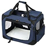 FEANDREA Hundebox Transportbox Auto Hundetransportbox faltbar Katzenbox Oxford Gewebe dunkelblau XL 81 x 58 x 58 cm PDC80Z